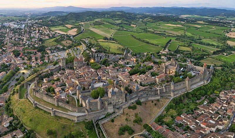 Carcassonne, cité unesco, vu du ciel